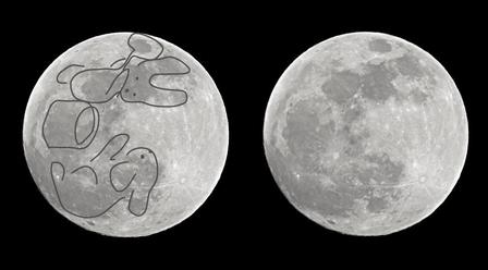 月の表面について。クレーターの模様がどうやってうさぎに?表面積は?